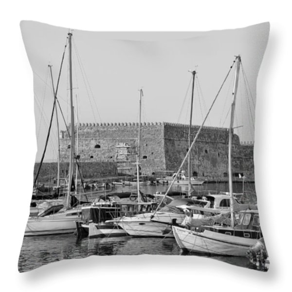 The Fortress And The Port In Iraklio City Throw Pillow by George Atsametakis