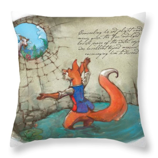 The Fox And The Goat IIi Throw Pillow by Ashraf Ghori