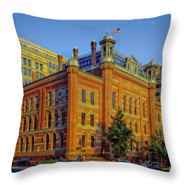 The Franklin School - Washington DC Throw Pillow by Mountain Dreams