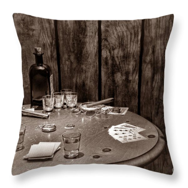 The Gambling Table Throw Pillow by American West Legend By Olivier Le Queinec