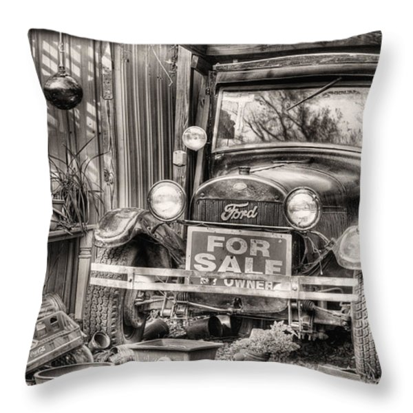 The Garage Sale Black and White Throw Pillow by JC Findley