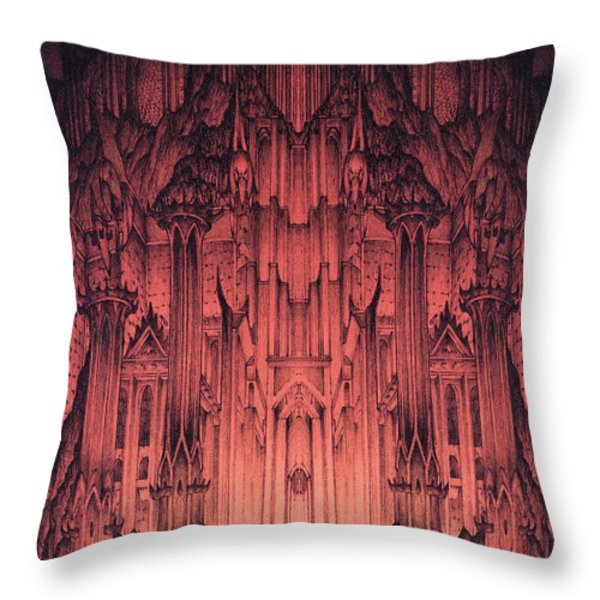 The Gates of Barad Dur Throw Pillow by Curtiss Shaffer