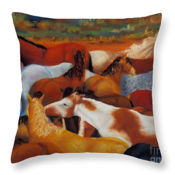 The Gathering Throw Pillow by Frances Marino