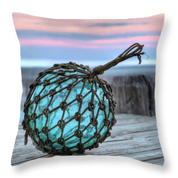 The Glass Fishing Float Throw Pillow by JC Findley