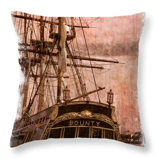 The Gleaming Hull Of The Hms Bounty Throw Pillow by Debra and Dave Vanderlaan