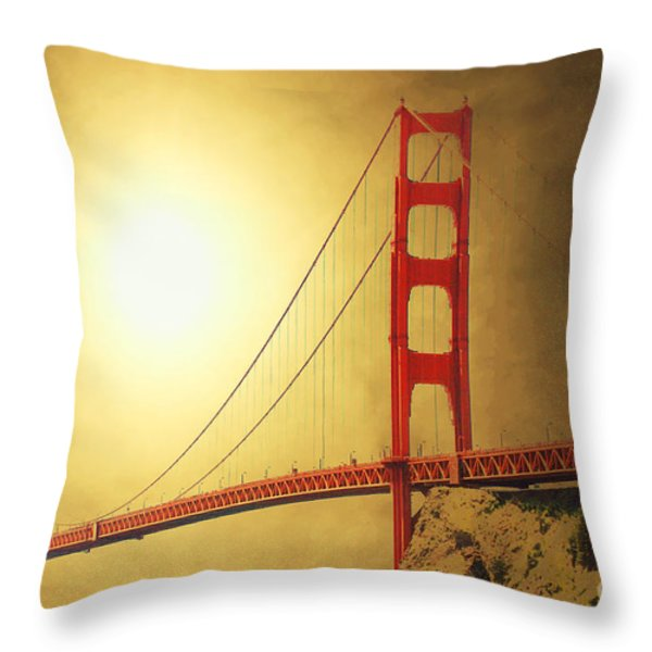 The Golden Gate Throw Pillow by Wingsdomain Art and Photography