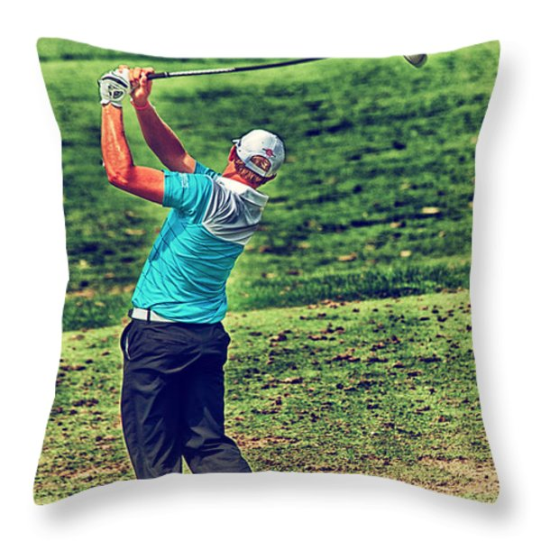 The Golf Swing Throw Pillow by Karol Livote