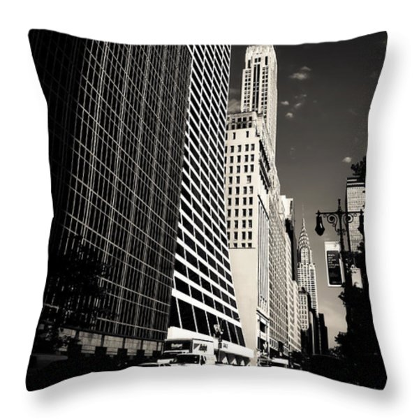 The Grace Building and the Chrysler Building - New York City Throw Pillow by Vivienne Gucwa
