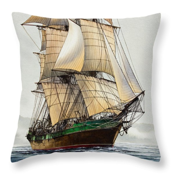 The Great Age Of Sail Throw Pillow by James Williamson