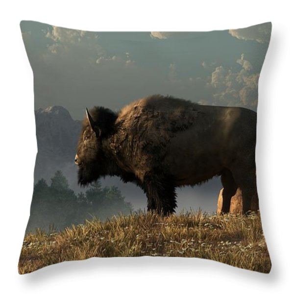 The Great American Bison Throw Pillow by Daniel Eskridge