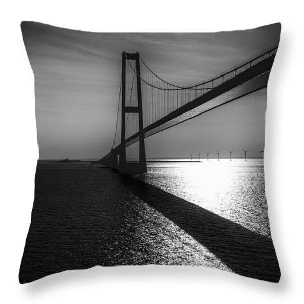 The Great Belt Bridge Throw Pillow by Erik Brede