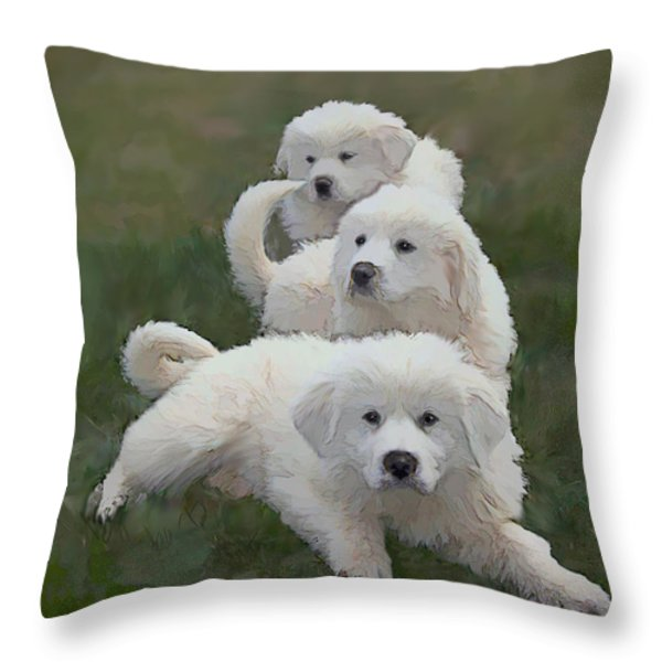 The Great Pyranise Pups Throw Pillow by Bonnie Willis