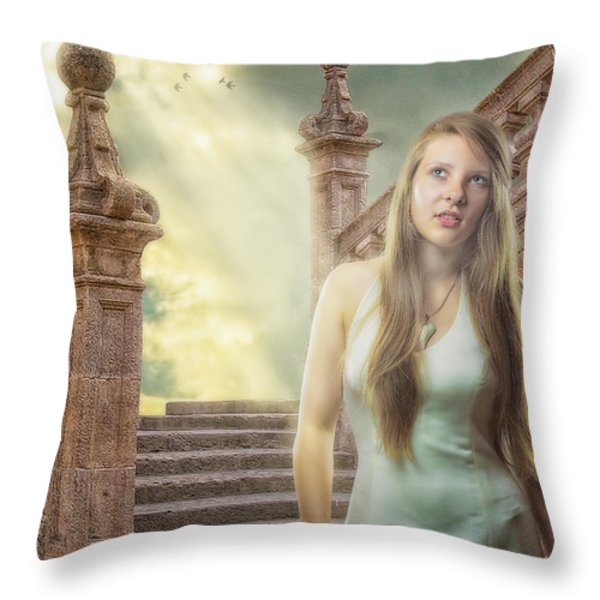 The Greek Goddess Throw Pillow by Erik Brede