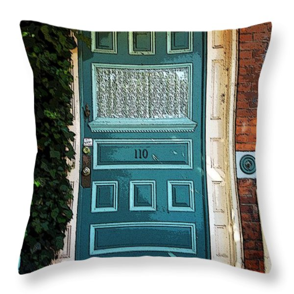The Green Door Throw Pillow by Kathleen Struckle