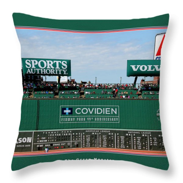 The Green Monster Fenway Park Throw Pillow by Tom Prendergast