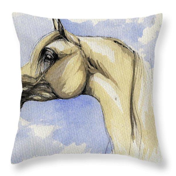 The Grey Arabian Horse 12 Throw Pillow by Angel  Tarantella