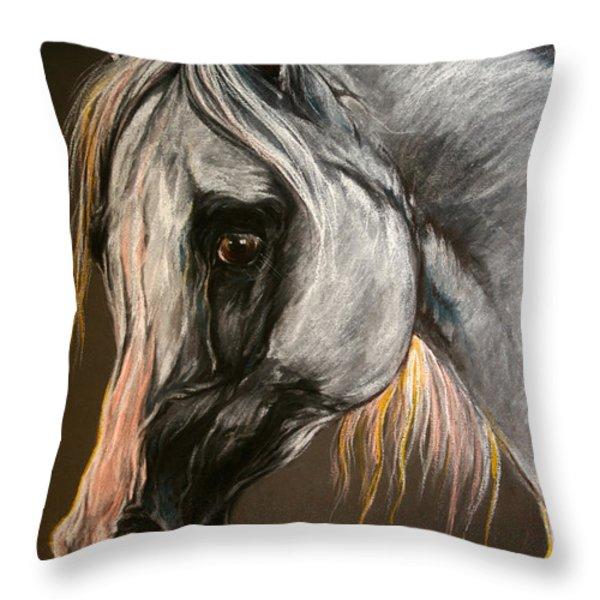 The Grey Arabian Horse Throw Pillow by Angel  Tarantella