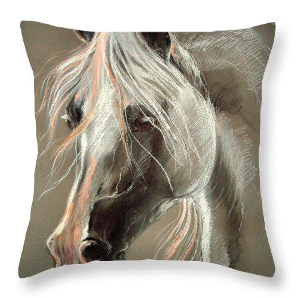 The Grey Horse Soft Pastel Throw Pillow by Angel  Tarantella