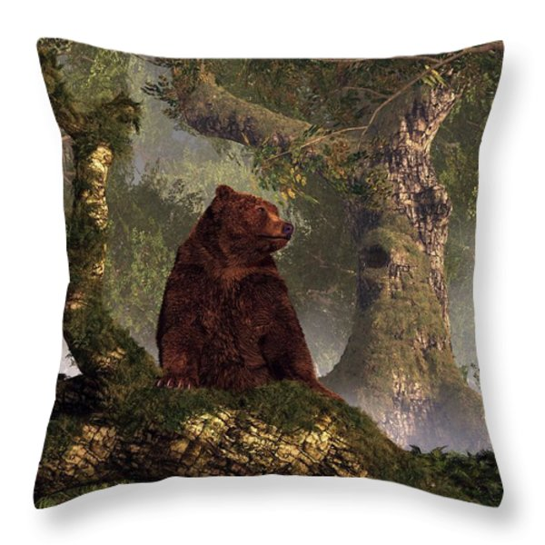 The Grizzly's Forest Throw Pillow by Daniel Eskridge