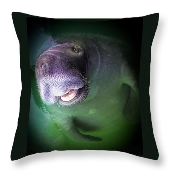 THE HAPPY MANATEE Throw Pillow by KAREN WILES