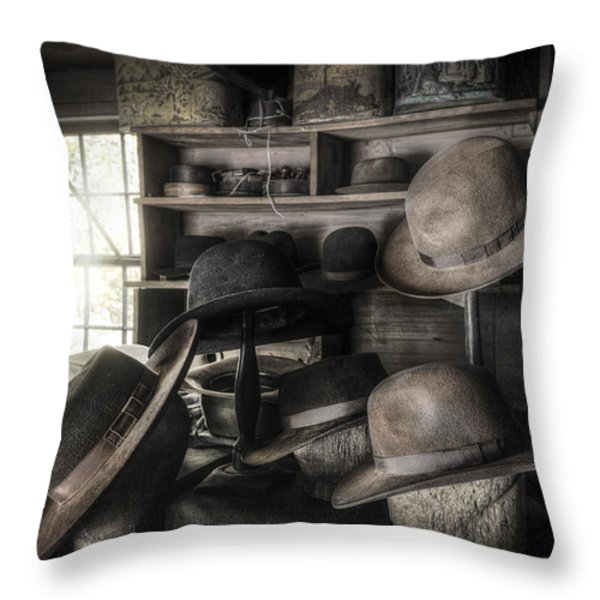 The Hatters Shop - 19th Century Hatter Throw Pillow by Gary Heller