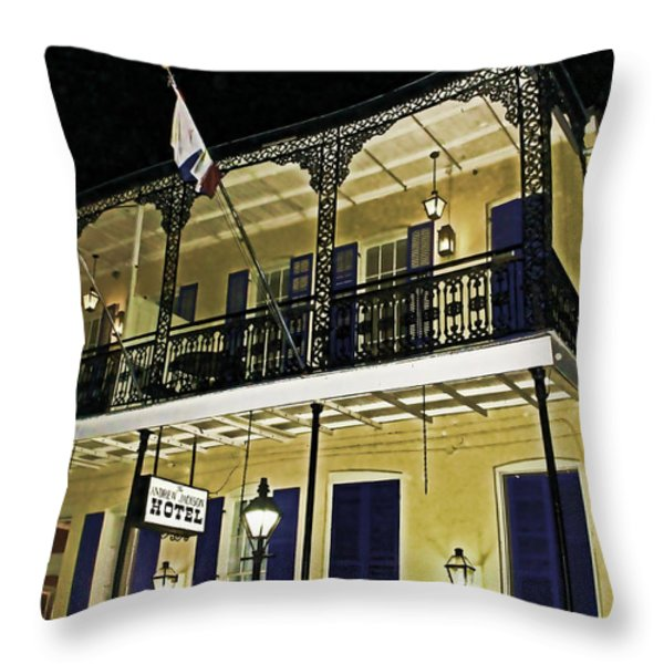 The Haunted Hotel Throw Pillow by Judy Vincent