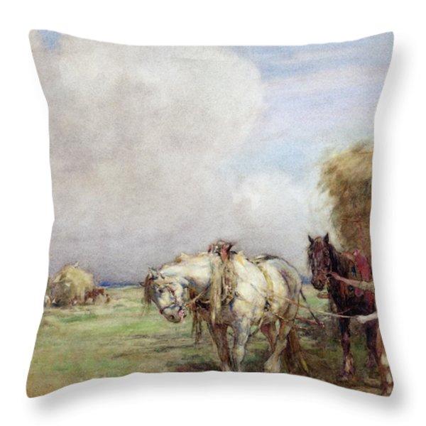 The Hay Wagon Throw Pillow by Nathaniel Hughes John Baird