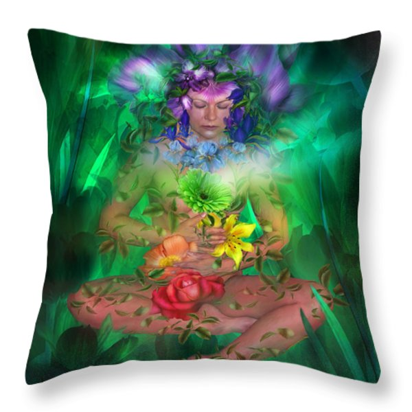 The Healing Garden Throw Pillow by Carol Cavalaris