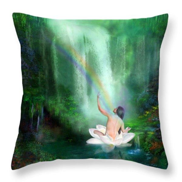The Healing Place Throw Pillow by Carol Cavalaris
