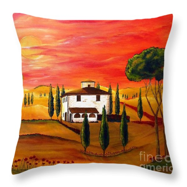 The Heat Of Tuscany Throw Pillow by Christine Huwer