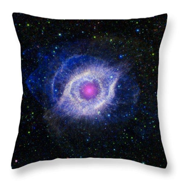 The Helix Nebula Throw Pillow by Adam Romanowicz