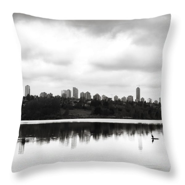 The Heron And The City Throw Pillow by Lisa Knechtel