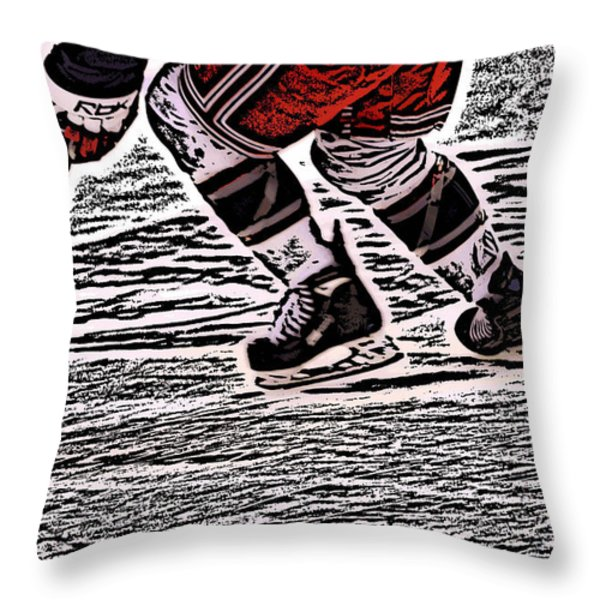 The Hockey Player Throw Pillow by Karol  Livote
