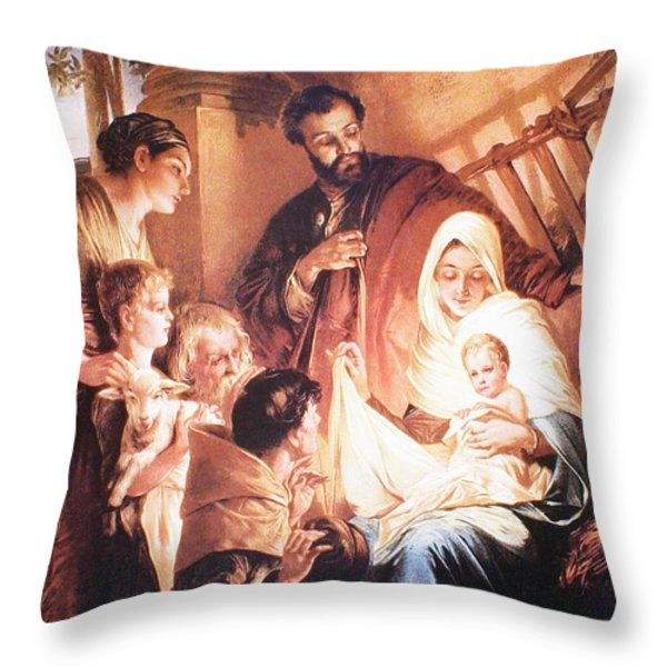 The Holy Family Throw Pillow by Unknown