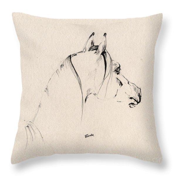 The Horse Sketch Throw Pillow by Angel  Tarantella