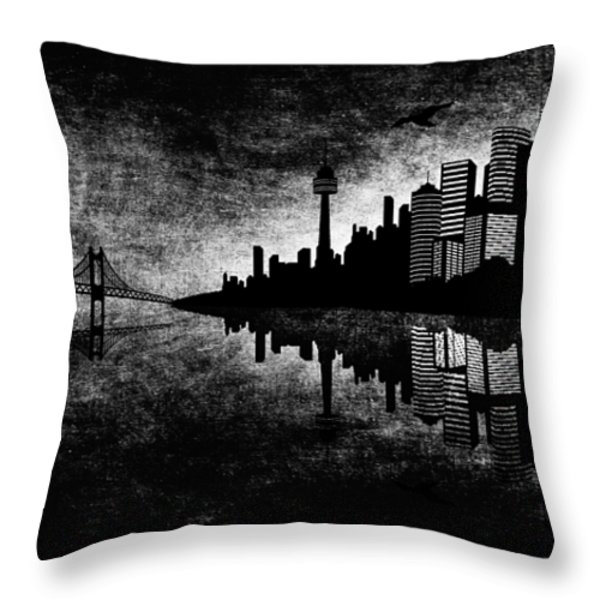 The Hubris Of Mankind Bw Throw Pillow by Angelina Vick