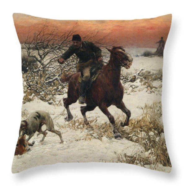 The Hunters Throw Pillow by A Wierusz Kowalski