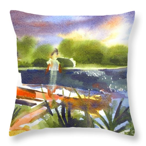 The Ideal Catch Throw Pillow by Kip DeVore