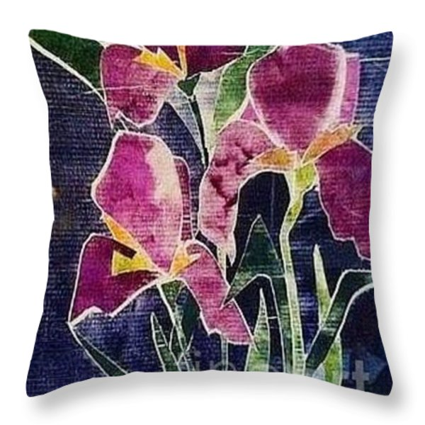 The Iris Melody Throw Pillow by Sherry Harradence