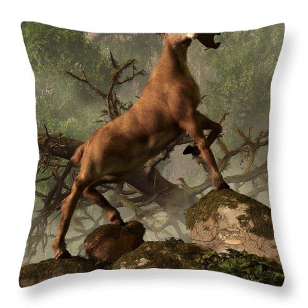 The Irish Elk Throw Pillow by Daniel Eskridge
