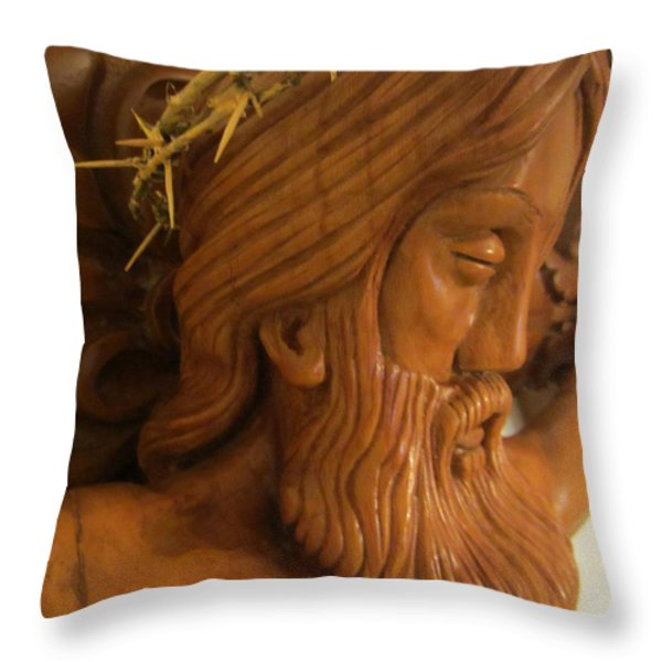 The Jesus Christ Sculpture Wood Work Wood Carving Poplar Wood Great For Church 2 Throw Pillow by Persian Art