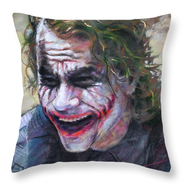 The Joker Heath Ledger  sm Throw Pillow by Ylli Haruni