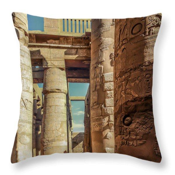 The Karnak Temple Throw Pillow by Erik Brede