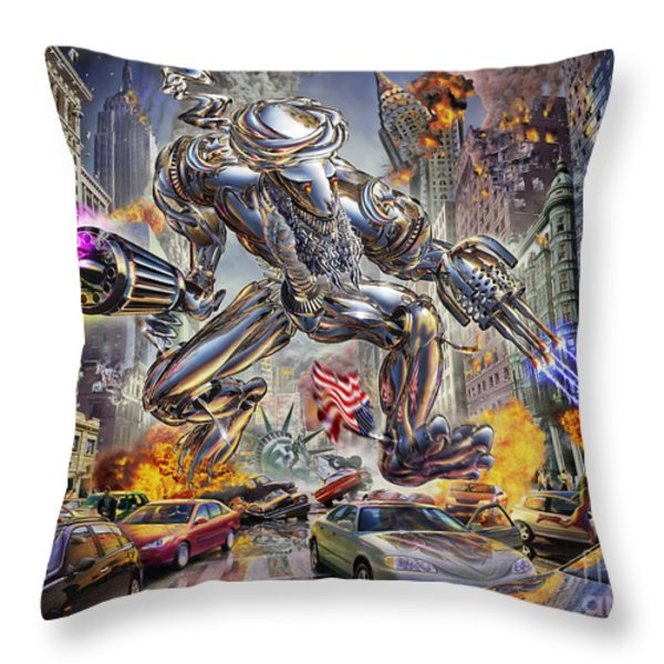 The Ladenator Throw Pillow by Adrian Chesterman