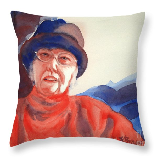 The Lady In Red Throw Pillow by Kathy Braud