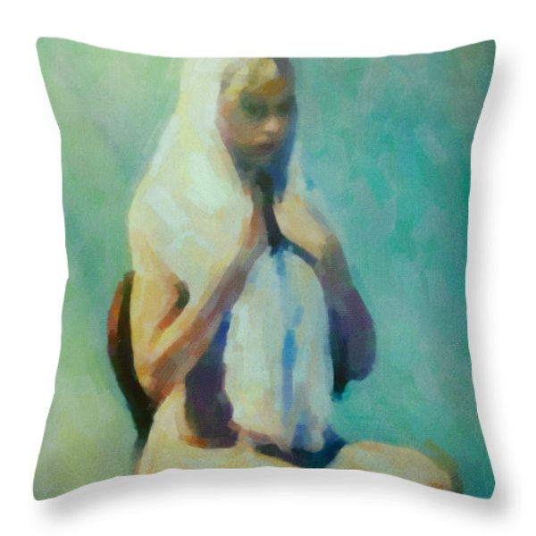 The Lady In Waiting Throw Pillow by Cinema Photography