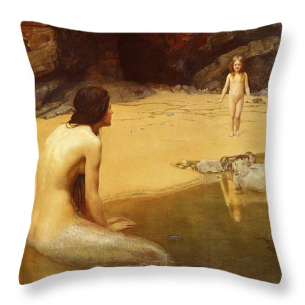 The Land Baby Throw Pillow by John Collier