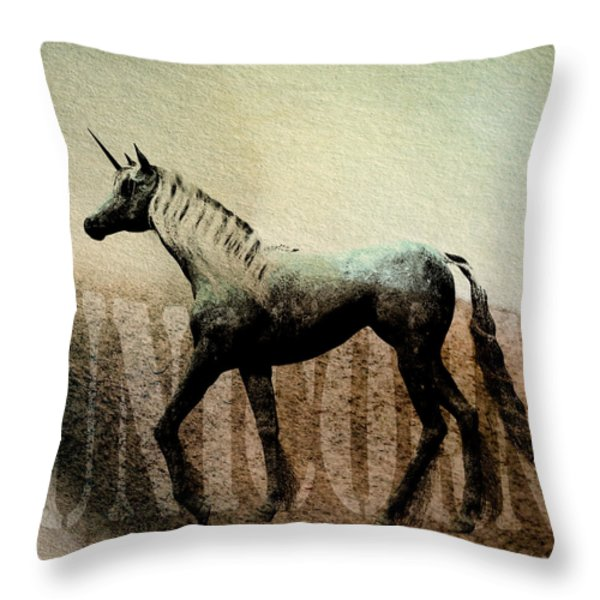 The Last Unicorn Throw Pillow by Bob Orsillo