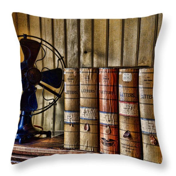 The Lawyers Desk Throw Pillow by Paul Ward
