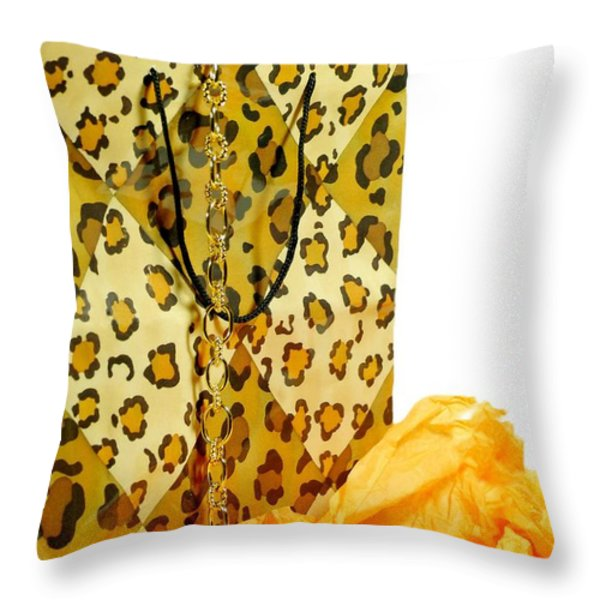 The Leopard Gift Bag Throw Pillow by Diana Angstadt